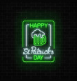 glowing neon green beer pub with celebrating vector image