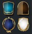 golden shields and laurel wreath retro design vector image