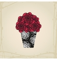 Hand drawn doodle roses in tattoo style and black vector image