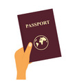 hand holds a foreign passport and submits it vector image