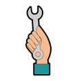 hand worker with wrench tool isolated icon vector image vector image
