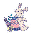 happy easter day sleeping rabbit and bunny vector image vector image