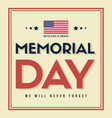 happy memorial day stars and stripes vector image