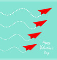happy valentines day six flying red origami paper vector image vector image