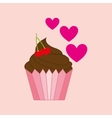 heart pink cartoon cupcake chocolate sweet icon vector image vector image