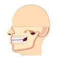 human head with teeth jaw and wisdom tooth inside vector image vector image