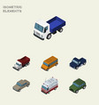 isometric transport set of suv auto first-aid vector image vector image