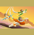 kids in an airplane race vector image vector image