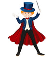 Magician in taxido holding wand vector image
