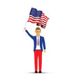 man waving a usa flag vector image vector image