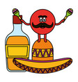 mexican emoji with hat and tequila bottle vector image