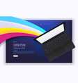 modern trendy landing page with modern laptop vector image vector image