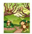 monkey in the wild forest vector image vector image