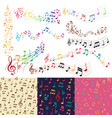 music notes music melody background vector image vector image