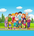 outdoor scene with big family group vector image