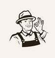 portrait a cheerful farmer in a hat sketch vector image vector image