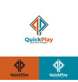 quick play - stylish letter q p with square vector image
