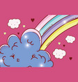 rainbow with kawaii fluffy clouds and hearts vector image vector image