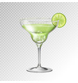 realistic cocktail margarita glass vector image vector image