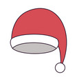 santa claus christmas cap on colorful silhouette vector image vector image