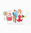 seafood restaurant icon set vector image