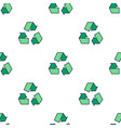 seamless pattern with green eco reuse icon vector image vector image