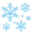 set crystal snowflakes vector image
