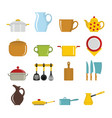 set flat cartoon dishes items vector image vector image