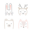set forest animals in hand drawn scandinavian vector image