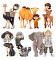 set of people and animal vector image