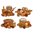 sketch bread and bakery food vector image vector image
