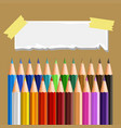 small paper and many color pencils vector image vector image
