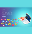 social media marketing homepage template person vector image