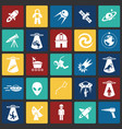 space icons set on color squares black background vector image