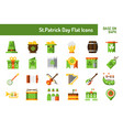 stpatricks day icon set flat icon base on 64 vector image vector image