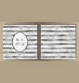 stripe silver foil and marble cover set vector image