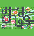 top view city road map with destination points vector image vector image