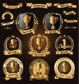 trophy and awards laurel wreath golden collection vector image vector image
