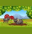 two warthog in nature vector image vector image