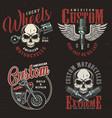 vintage motorcycle repair service logos vector image vector image