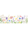 watercolor banner with wildflower