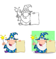 Wizard With Magic Wand And Holding Up A Scroll vector image