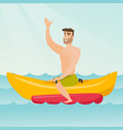 young happy caucasian man riding a banana boat vector image vector image