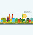 zurich skyline with color buildings and blue sky vector image vector image