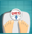 human weighed on the scales word diet on the vector image
