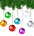 realistic with set of bright colorful christmas vector image