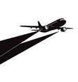 airplane silhouette on white background vector image vector image