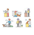 animal care concept male and female characters vector image vector image