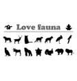 Animals silhouettes love fauna