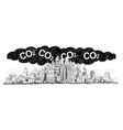 artistic drawing of city covered by smog and co2 vector image vector image